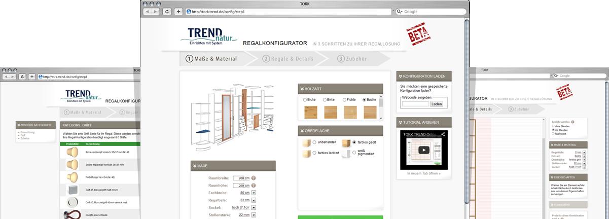 TREND Regal-Konfigurator - Massivholz-Möbel online konfigurieren